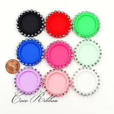 6/12/24pc Round Rhinestone Matte Cameo Setting 25mm Inner Resin Cameo Cabochon