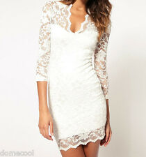 Women Lace Dress Scalloped V-Neck Ladies Sexy Slim 3/4 Sleeve Cocktail Dress DM