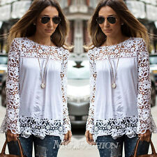 New Ladies Embroidery Lace Chiffon Long Sleeve Top Shirt Blouse T-shirt