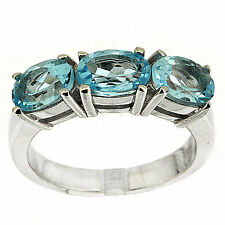 925 Silver 2.85 Ct Natural Blue Topaz Ring