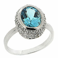 925 Sterling Silver Amazing 3.80 Ct Natural Topaz & White CZ Ring
