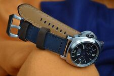 MA WATCH STRAP 22 / 20 MM REAL NUBUK LEATHER HANDMADE SPAIN FOREST BLUE/BROWN