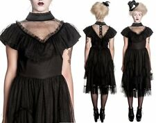 Gothic Victorian Steampunk Highneck Black Vintage Dress XS S M L XL
