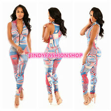 Women Sexy Celebrity  Zipper Sleeveless Print  Bodycon Jumpsuit Romper Catsuit