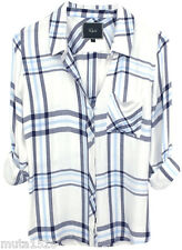 [NEW] Rails Hunter white navy sky blue $138 XS-M gray plaid shirt button down