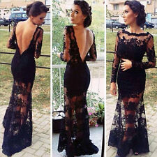 Sexy Women Slim Backless Lace Maxi Cocktail Evening Gown Party Dress