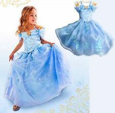 NEW Blue Sandy Princess Cinderella Cosplay Costume Kids Girls Party Fancy Dress