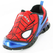 Spiderman Mask Boys Trainers - Red/Navy/Velcro (Size 10,11,12,13,1)