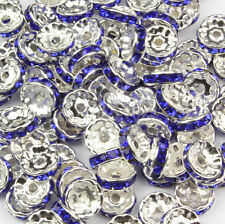 Blue Royal Rondelle Spacer Beads Glass Swarovski Crystal Rhinestone 6MM 8MM 10MM