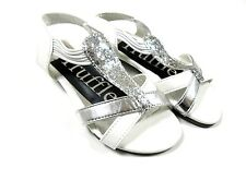White Silver Glitter Sandal Small Heel Shoes UK 8 Infant - UK Youth Ladies 5