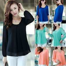 Korean Fashion Women's Loose Chiffon Tops Long Sleeve Shirt Casual Blouse EC