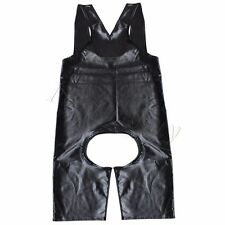 Sexy Men's Patent Leather Swimsuit Leotard Crotchless Underwear Bodysuit Singlet