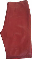 Womens Red leather trousers Jeans short length #7W