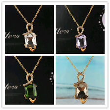 In 6 Color New Women 14k Gold Filled Austrian Crystal Pendant Necklace Jewelry
