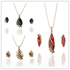 Attractive Women 18K Gold Plated Peridot Austrian Crystal Jewelry Set In 3 Color