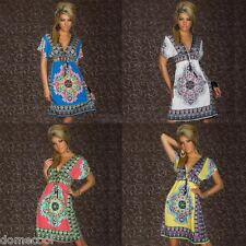 Sexy Fashion WOMEN BOHEMIAN MAXI DRESS Paisley Print V neck Boho Hippie Sundress