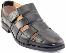 La Milano Men's Black Leather Dress Sandals #LZ085