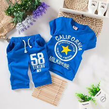 2pcs Baby Kids' Clothes Girls' Boys' Clothing Children Outfits Sets Suits Blue