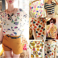 Womens Casual Floral Chiffon Batwing Sleeve Loose Blouse T-Shirt Tops Tee S-XXL