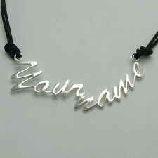 N000274 Custom Made Sterling Silver Necklace With Your Name or Text Solid 925