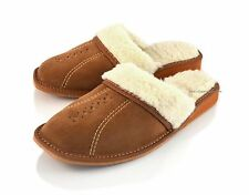 Women's Brown Leather Slippers Shoes Mules Sheep's Wool Sheepskin size 3-7 SALE!