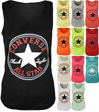 Ladies Womens Converse Star Sleeveless Racer Back Muscle Vest Tank T Shirt Top