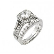 925 rhodium plated sterling silver bridal ring set cluster/square clear CZ