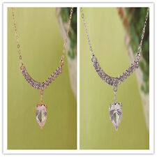 In 2 Color Women 14K Gold Filled Austrian Crystal Heart Pendant Necklace Jewelry