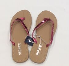 "GIRLS ""Old Navy"" Pink  sequin flip flops NWT Sizes 11 12 13 3"