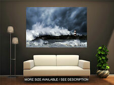 Wall Art Canvas Print Picture Ocean Big Great Waves Lighthouse-Unframed