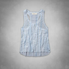 Abercrombie & Fitch Belle Shine Tank Top Womens Blue Beaded Shirt Blouse New NWT