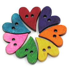 Wooden Buttons Mixed Colours 21 x 17mm Heart Sewing Scrap Booking
