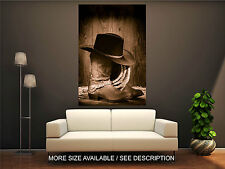 Wall Art Canvas Print Picture Western Rodeo Cowboy Hat atop, Boots-Unframed