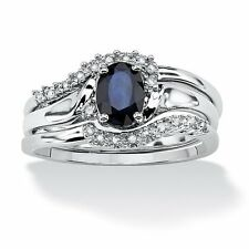 3 Piece 1.05 TCW Oval Sapphire and Diamond Accent Bridal Ring Set in Platinum o
