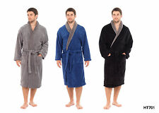 New Mens Coral Fleece Dressing Gowns Supersoft Bath Robe BLUE GREY HT701