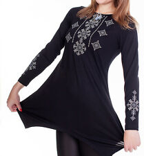 Ukrainian woman Tunic t-Shirt Vyshyvanka Black S, M