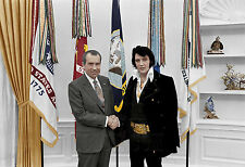 Elvis Presley Richard Nixon Rock and Roll King President color photo