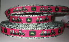 "GROSGRAIN GREEN TRACTOR PINK 7/8"" INCH PRINTED GROSGRAIN RIBBON 1, 3, 5 YARDS"
