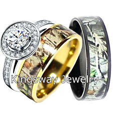 His and Hers Titanium Camo 925 STERLING SILVER Engagement Wedding Rings Set Gold