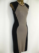 New Vtg 50s Black Brown Pencil Wiggle Illusion Colour Block Bodycon Dress Office