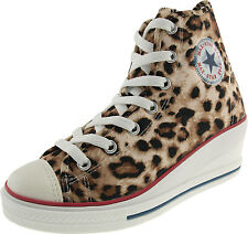 Maxstar 7-Holes Satin Zipper Wedge Heel Sneakers Leopard Shoes 2 Colors