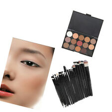 20 Makeup Brushes + 15 Eyeshadow Eye Shadow Palette Make Up Sponge Kit Set New T