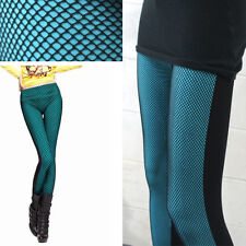 Fishnet Blue/Black Punk Rocker Solid Skinny Tight Pants Stretchy Leggings New US