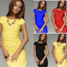 NEW Womens Sexy Ladies Short Sleeve Midi Party Bodycon Evening Cocktail Dress
