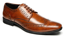 Mens Leather Wedding Smart Dress Lace Up Brogues Formal Tan Shoes Size 7-12