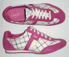 NEW w/ BOX, COACH Kinsley Peyton Tattersall Sneaker, Suede Trim, Multicolor PINK