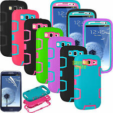 FILM + PC SHOCKPROOF DEFENDER HARD CASE COVER FOR SAMSUNG GALAXY S3 S III I9300