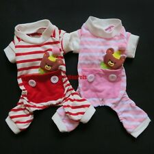 Stripes BEAR Dog Pajamas Jumpsuits Overalls Pet Apparel Dog Clothes XS S M L XL