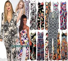 WOMENS NEW LADIES CELEBS SUMMER FLORAL CAMI STRAPPY PLAZZO JUMPSUIT SIZE 8-16