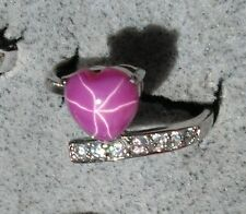 HEART LINDE LINDY PINK STAR SAPPHIRE CREATED RUBY SECOND RING STAINLESS STEL